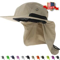 Boonie Snap Hat for Men Wide Brim Ear Neck Cover Sun Flap Bu