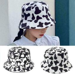 Fashion Cow Print Bucket Hat Summer Sun Caps For Women Hat F