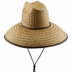 """Panama Jack Lifeguard Sun Hat - Palm Fiber Straw, 5"""" Bound B"""
