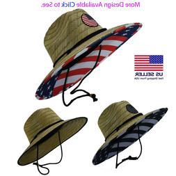 Men's Straw Sun Lifeguard Beach Hat Raffia Wide Brim, One Si
