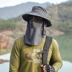 Mens Boonie Sun Protection Hat Brim Neck Face Flap Cap Hikin