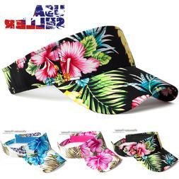 Sun Visor Cap Hawaii Tropical Floral Hat Adjustable Sports G