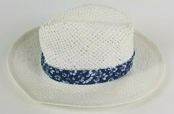 Nick Graham Vented Straw Fedora  Sun Hat White Floral