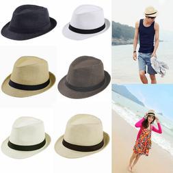 Women Men Braid Fedora Trilby Gangster Cap Summer Beach Sun